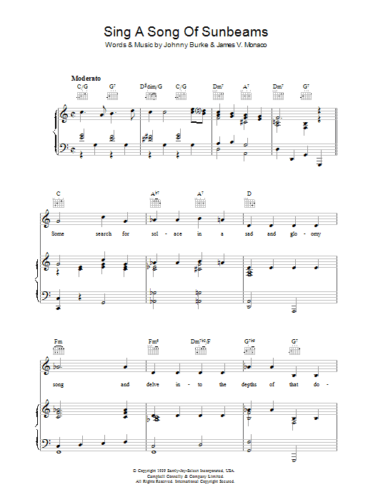 Sing A Song Of Sunbeams (Piano, Vocal & Guitar)