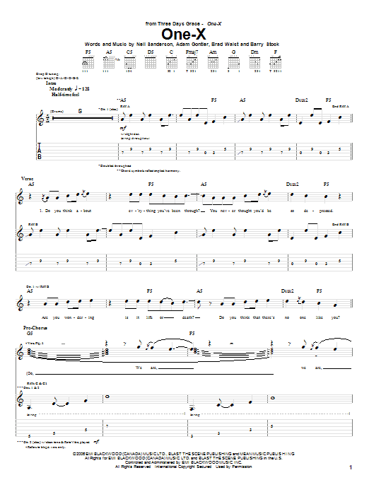 Tablature guitare One-X de Three Days Grace - Tablature Guitare