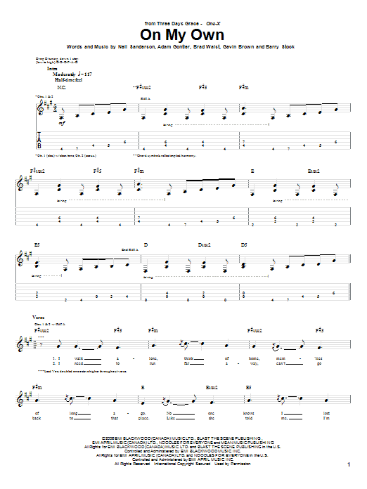 Tablature guitare On My Own de Three Days Grace - Tablature Guitare