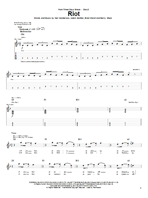 Tablature guitare Riot de Three Days Grace - Tablature Guitare
