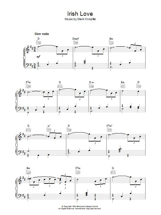 Irish Love (from Cal) by Mark Knopfler Piano Solo Digital Sheet Music