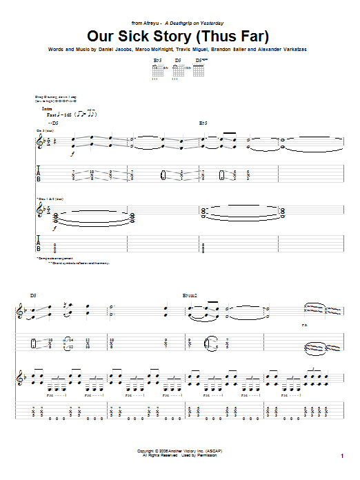 Tablature guitare Our Sick Story (Thus Far) de Atreyu - Tablature Guitare