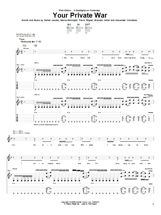 Tablature guitare Your Private War de Atreyu - Tablature Guitare
