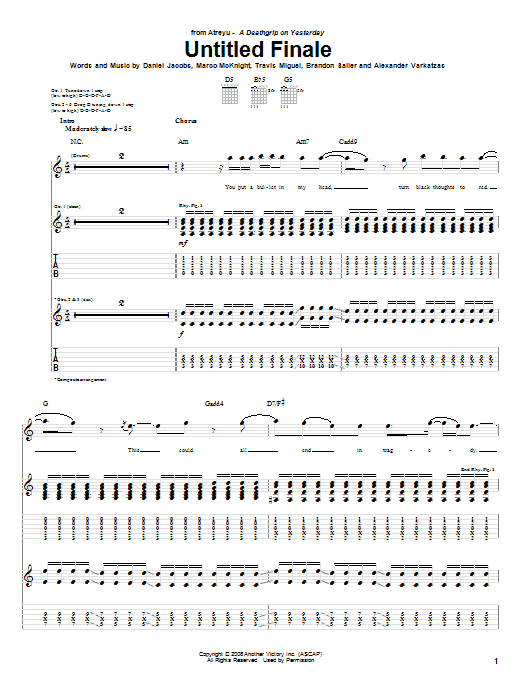 Tablature guitare Untitled Finale de Atreyu - Tablature Guitare