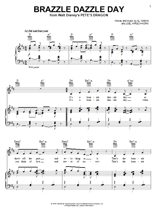 Partition piano Brazzle Dazzle Day de Al Kasha - Piano Voix Guitare (Mélodie Main Droite)