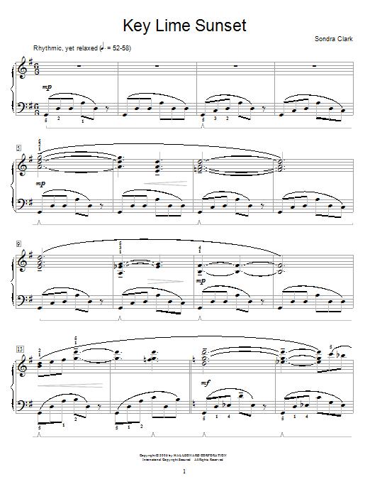 Partition piano Key Lime Sunset de Sondra Clark - Autre