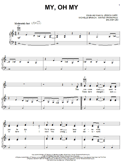 My, Oh My (Piano, Vocal & Guitar (Right-Hand Melody))