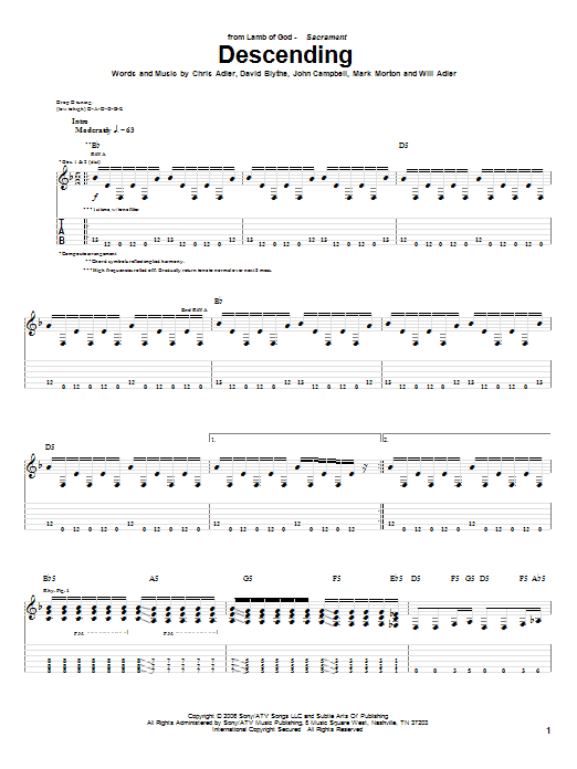 Descending Sheet Music