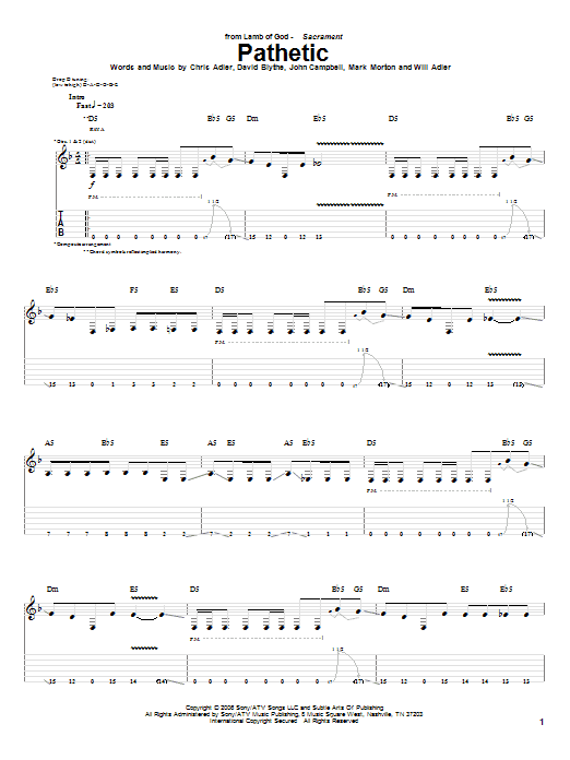 Tablature guitare Pathetic de Lamb of God - Tablature Guitare