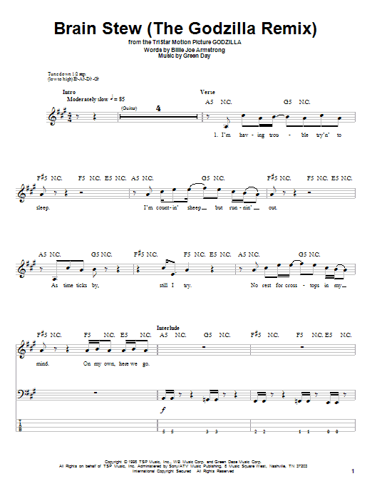 Tablature guitare Brain Stew (The Godzilla Remix) de Green Day - Tablature Basse