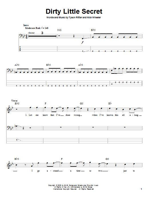 Tablature guitare Dirty Little Secret de The All-American Rejects - Tablature Basse