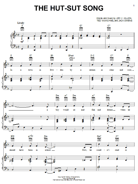 The Hut-Sut Song (Piano, Vocal & Guitar (Right-Hand Melody))