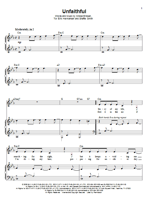 Unfaithful Sheet Music