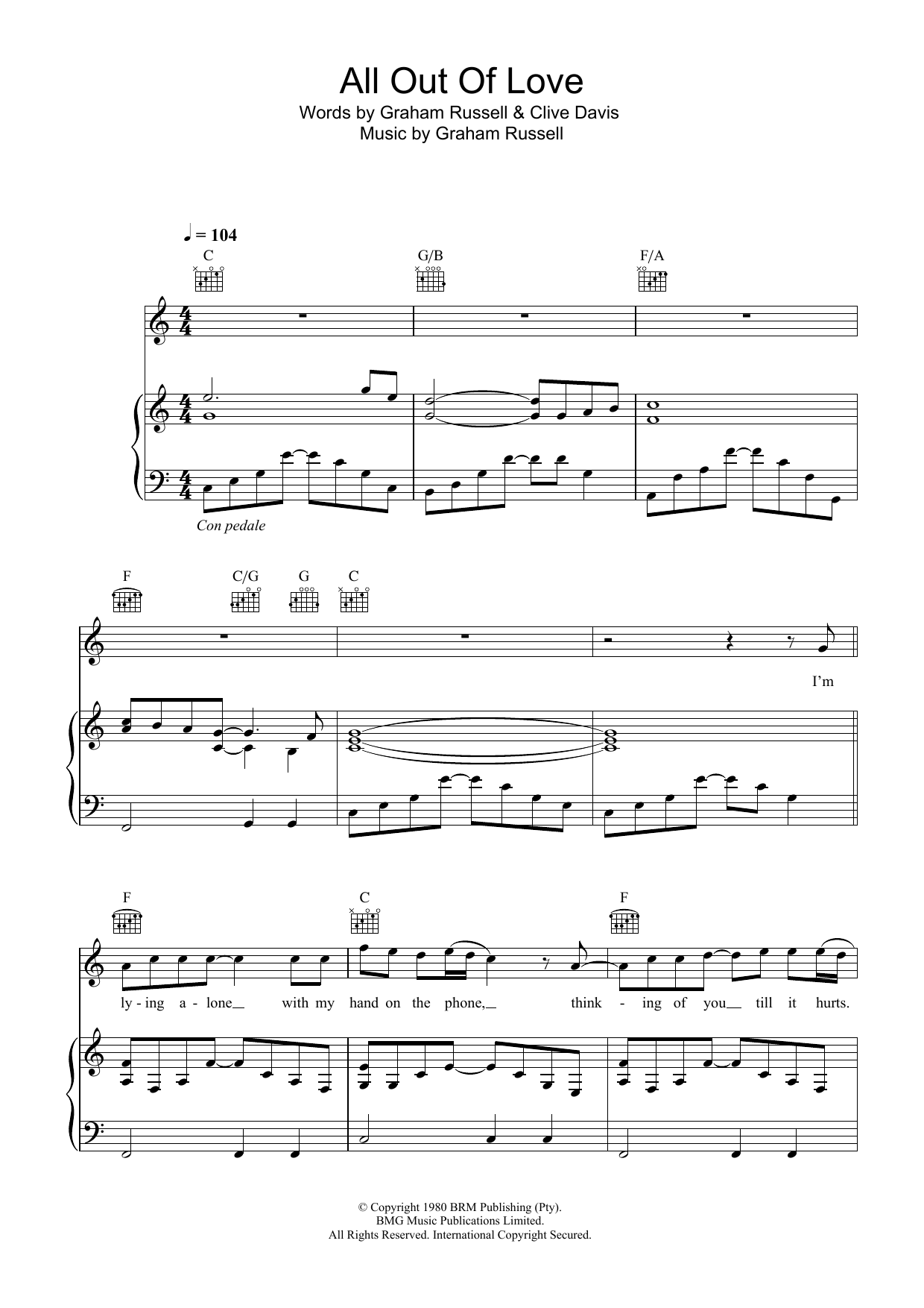 All Out Of Love (Piano, Vocal & Guitar)