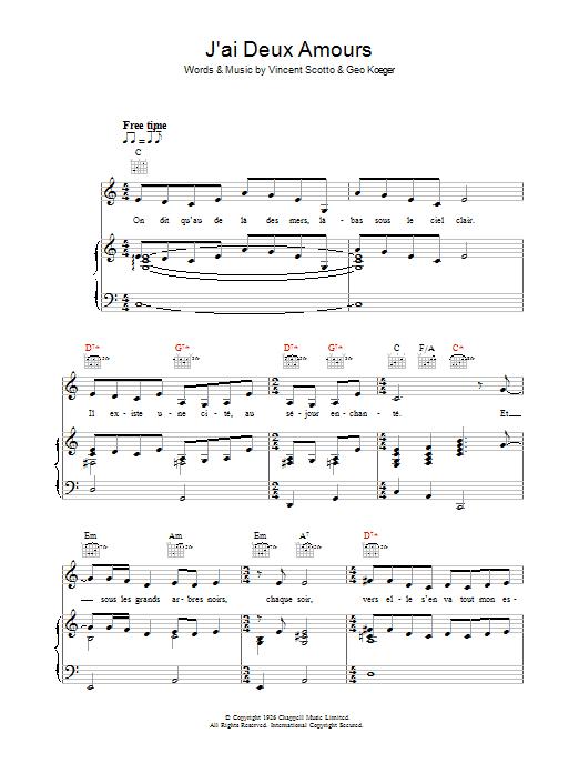 J'ai Deux Amours (Piano, Vocal & Guitar)