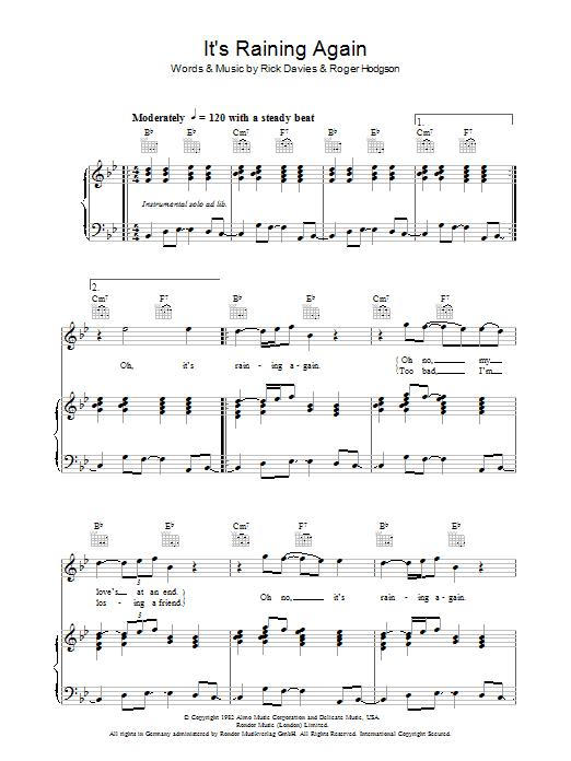 It's Raining Again (Piano, Vocal & Guitar)