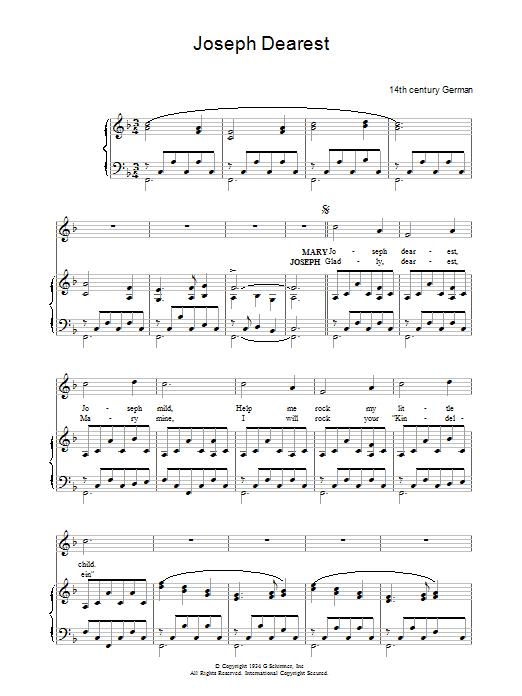 Joseph Dearest Sheet Music