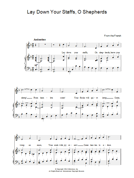 Lay Down Your Staffs, O Shepherds (Piano, Vocal & Guitar)
