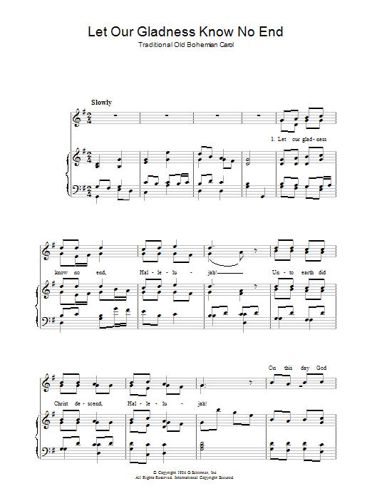 Let Our Gladness Know No End (Piano, Vocal & Guitar)