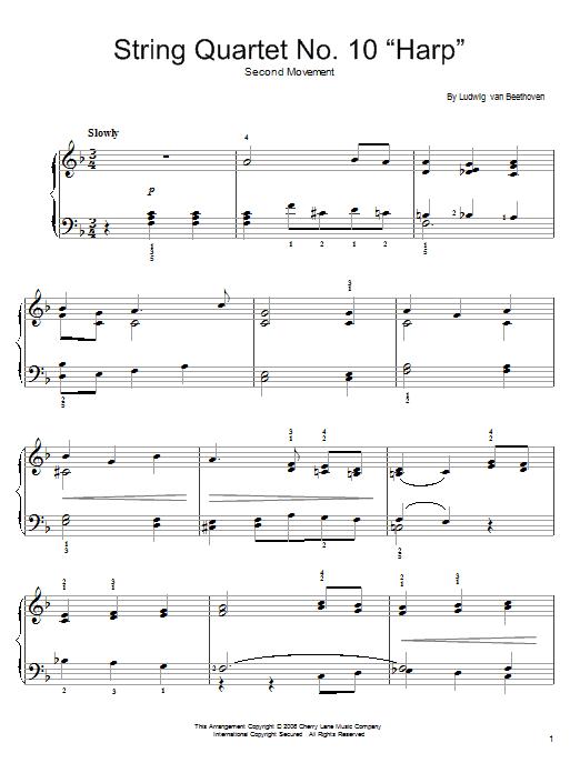 Partition piano String Quartet No. 10 In E-Flat, Op. 74 de Ludwig van Beethoven - Piano Facile