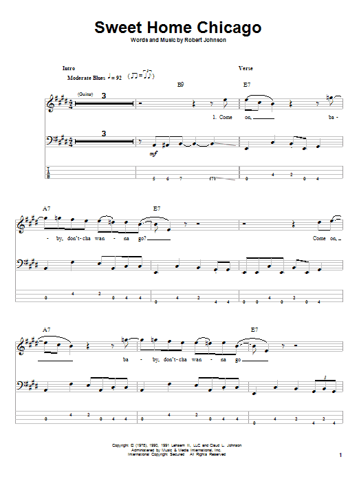 Tablature guitare Sweet Home Chicago de Robert Johnson - Tablature Basse