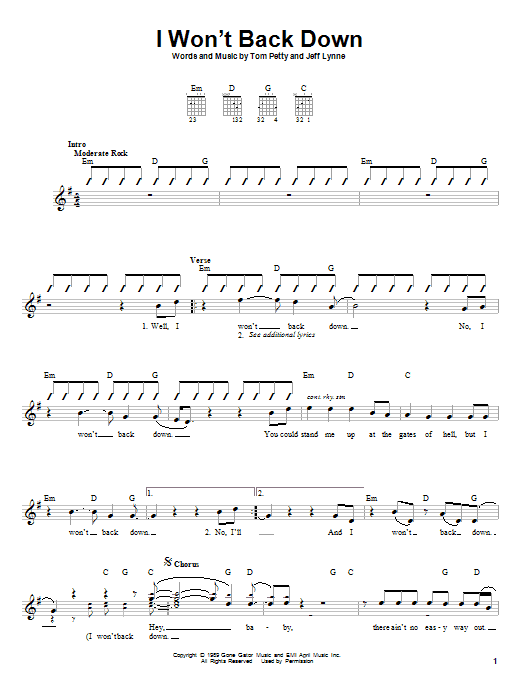Tablature guitare I Won't Back Down de Tom Petty - Autre