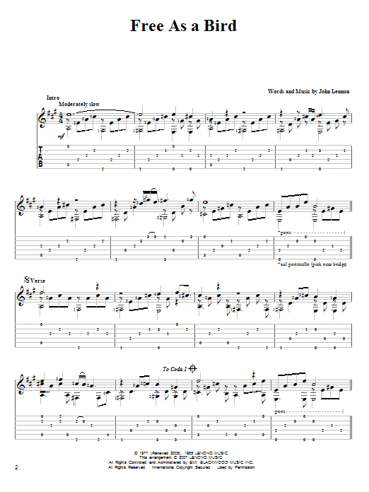 Tablature guitare Free As A Bird de The Beatles - Tablature Guitare