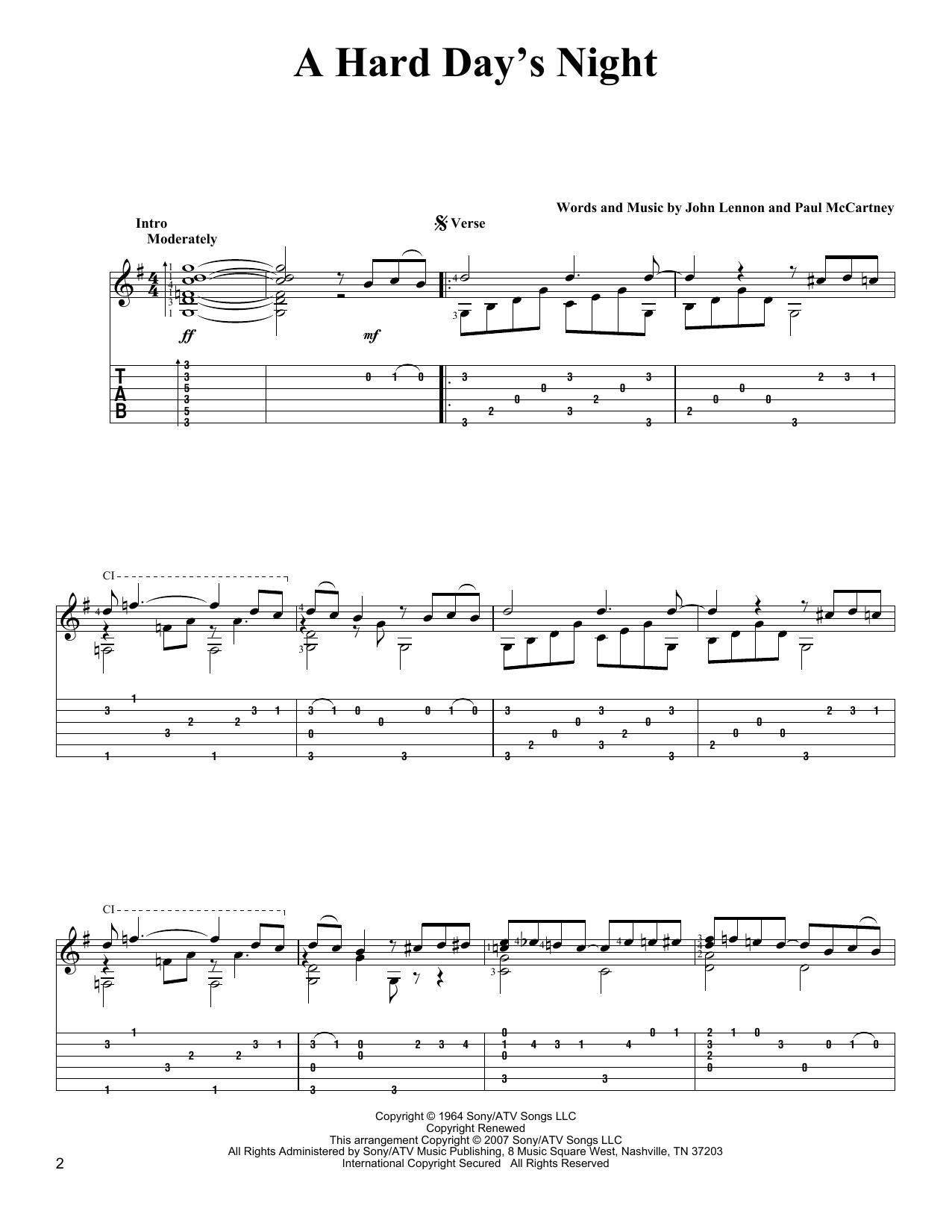 Tablature guitare A Hard Day's Night de The Beatles - Tablature Guitare