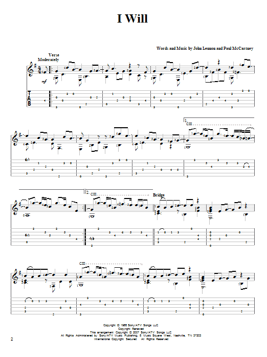 Tablature guitare I Will de The Beatles - Tablature Guitare