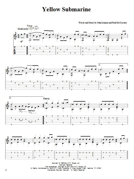 Yellow Submarine Guitar Tab by The Beatles (Guitar Tab u2013 82600)