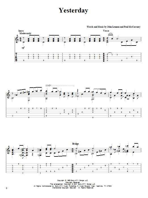 Tablature guitare Yesterday de The Beatles - Tablature Guitare