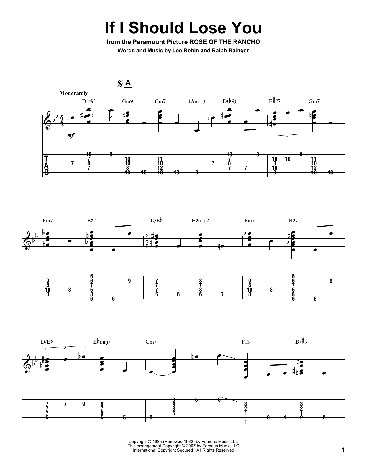 Tablature guitare If I Should Lose You de Ralph Rainger - Tablature Guitare