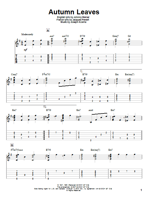 Tablature guitare Autumn Leaves de Johnny Mercer - Tablature Guitare