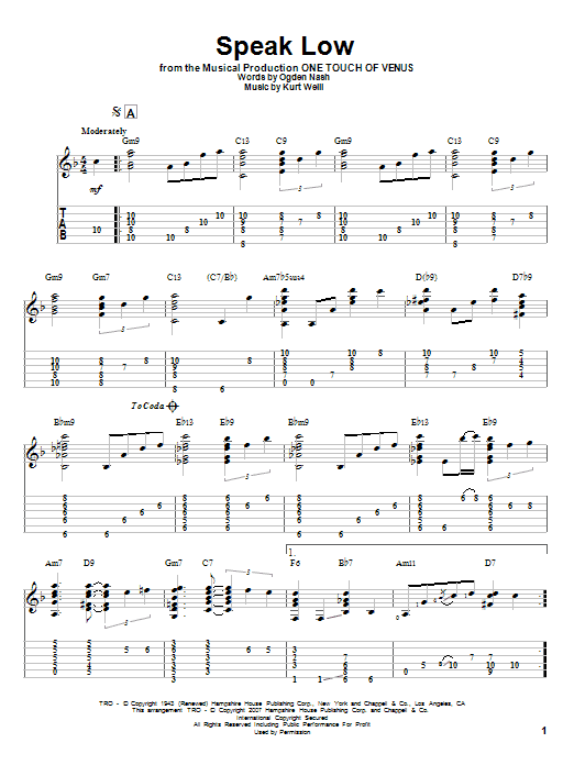 Tablature guitare Speak Low de Kurt Weill - Tablature Guitare