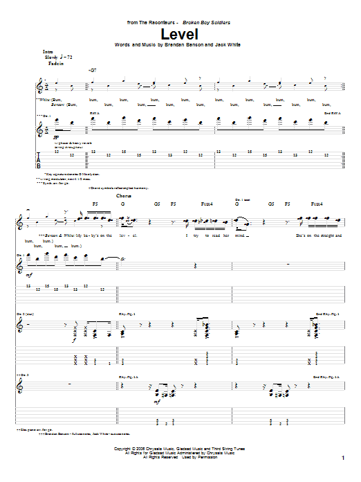 Tablature guitare Level de The Raconteurs - Tablature Guitare