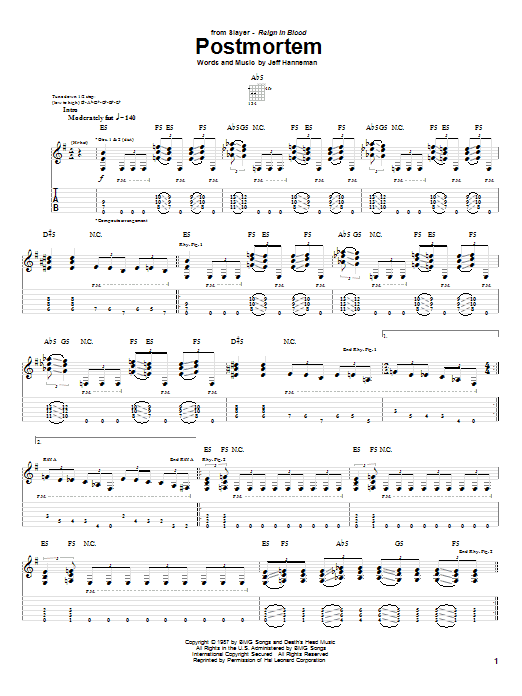 Tablature guitare Postmortem de Slayer - Tablature Guitare