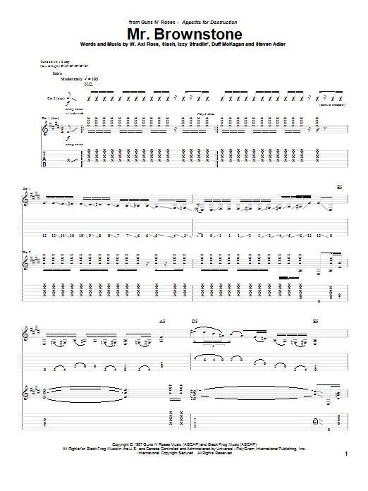 Tablature guitare Mr. Brownstone de Guns N' Roses - Tablature Guitare