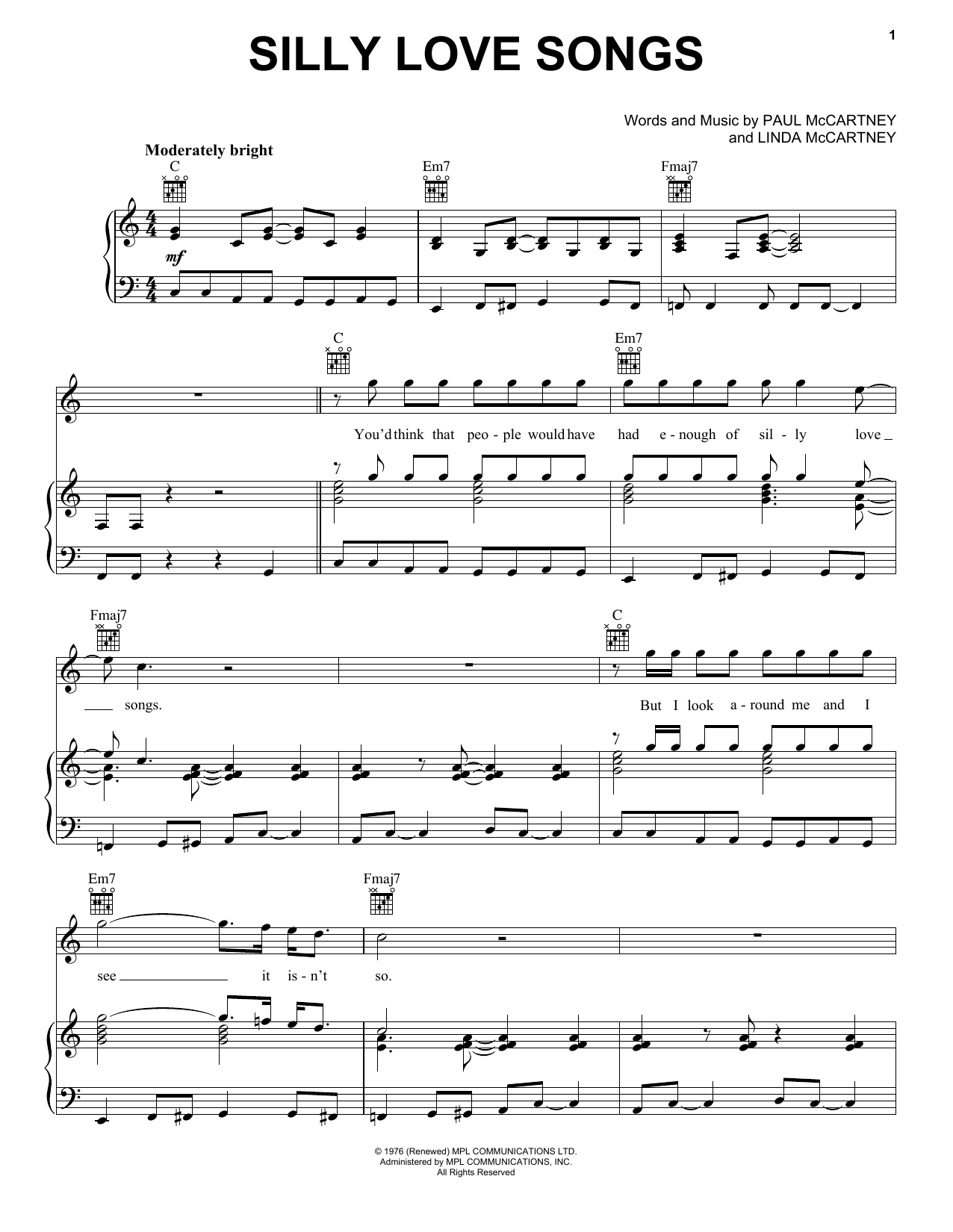 Silly Love Songs Sheet Music