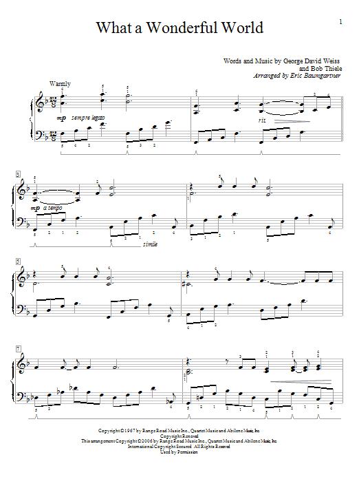 Partition piano What A Wonderful World de Louis Armstrong - Autre