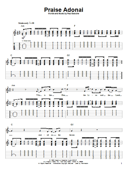 Praise Adonai sheet music by Paul Baloche (Guitar Tab Play-Along ...