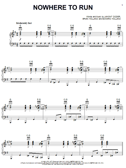 Nowhere To Run Sheet Music
