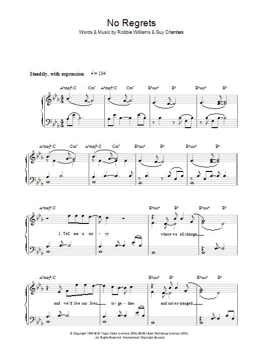 No Regrets (Piano, Vocal & Guitar)