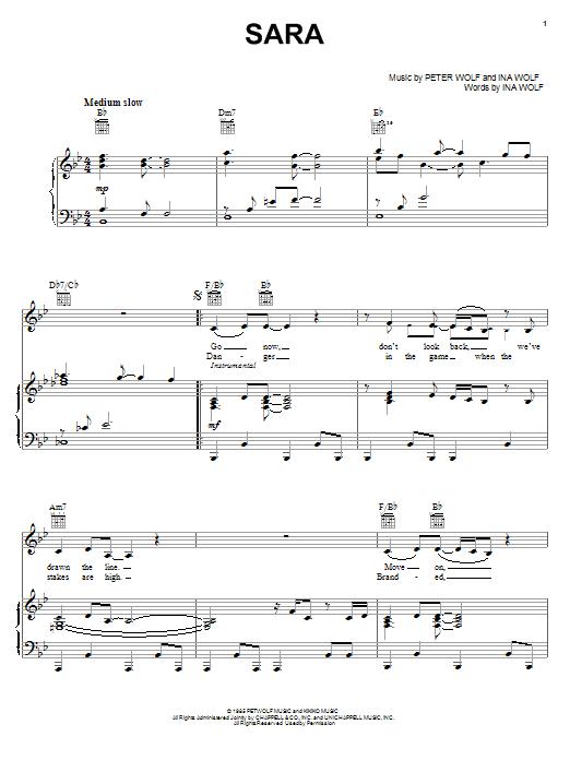 Partition piano Sara de Starship - Piano Voix Guitare (Mélodie Main Droite)