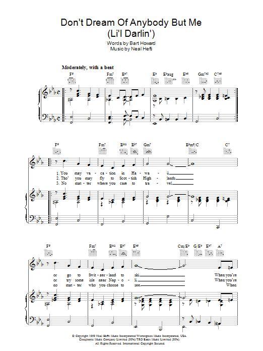 Don't Dream Of Anybody But Me (Li'l Darlin') Sheet Music