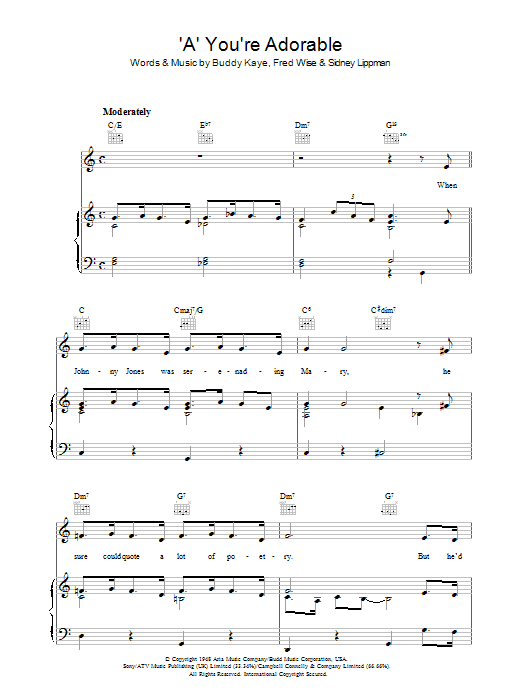 'A' You're Adorable (Piano, Vocal & Guitar)