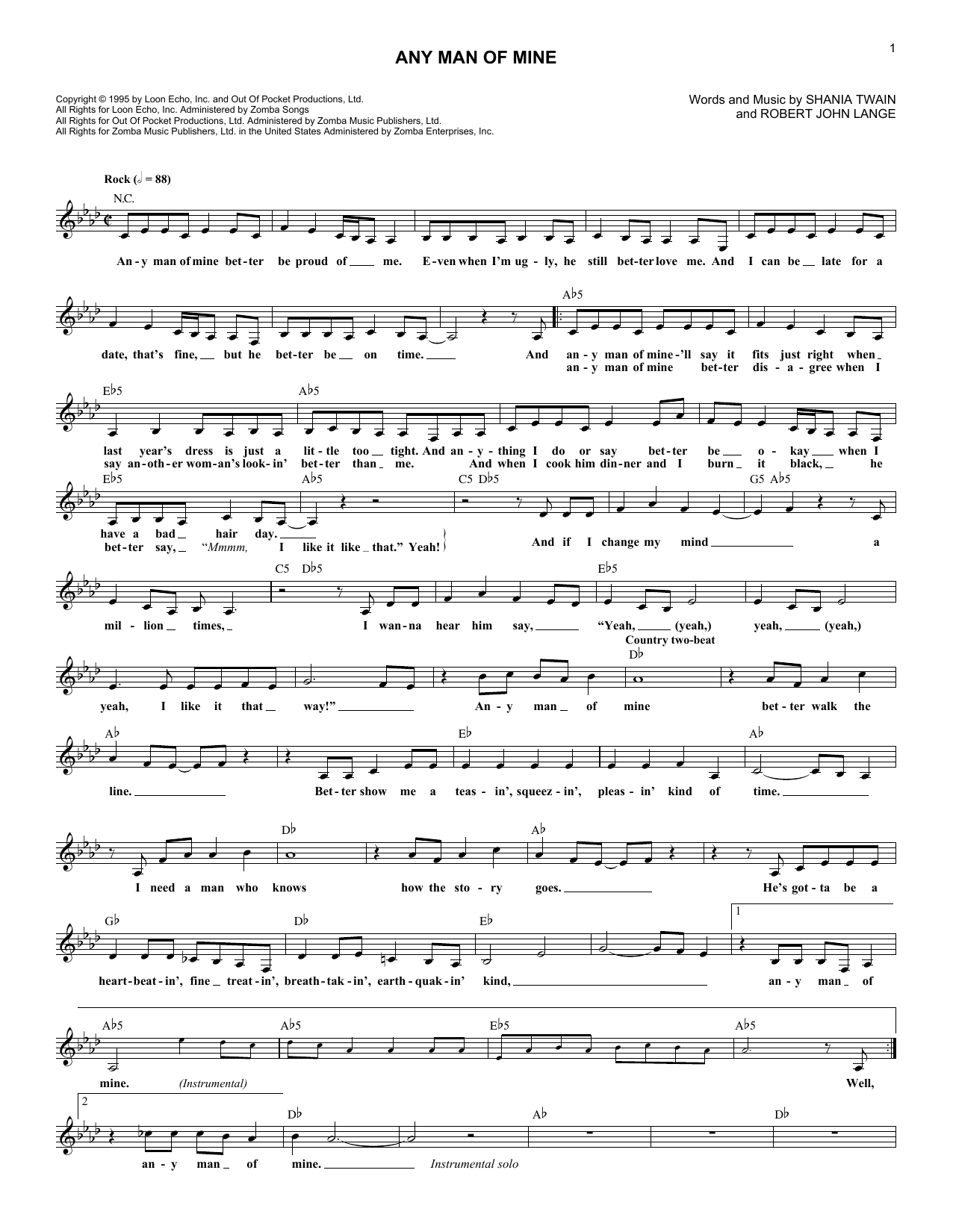 Any Man Of Mine (Lead Sheet / Fake Book)
