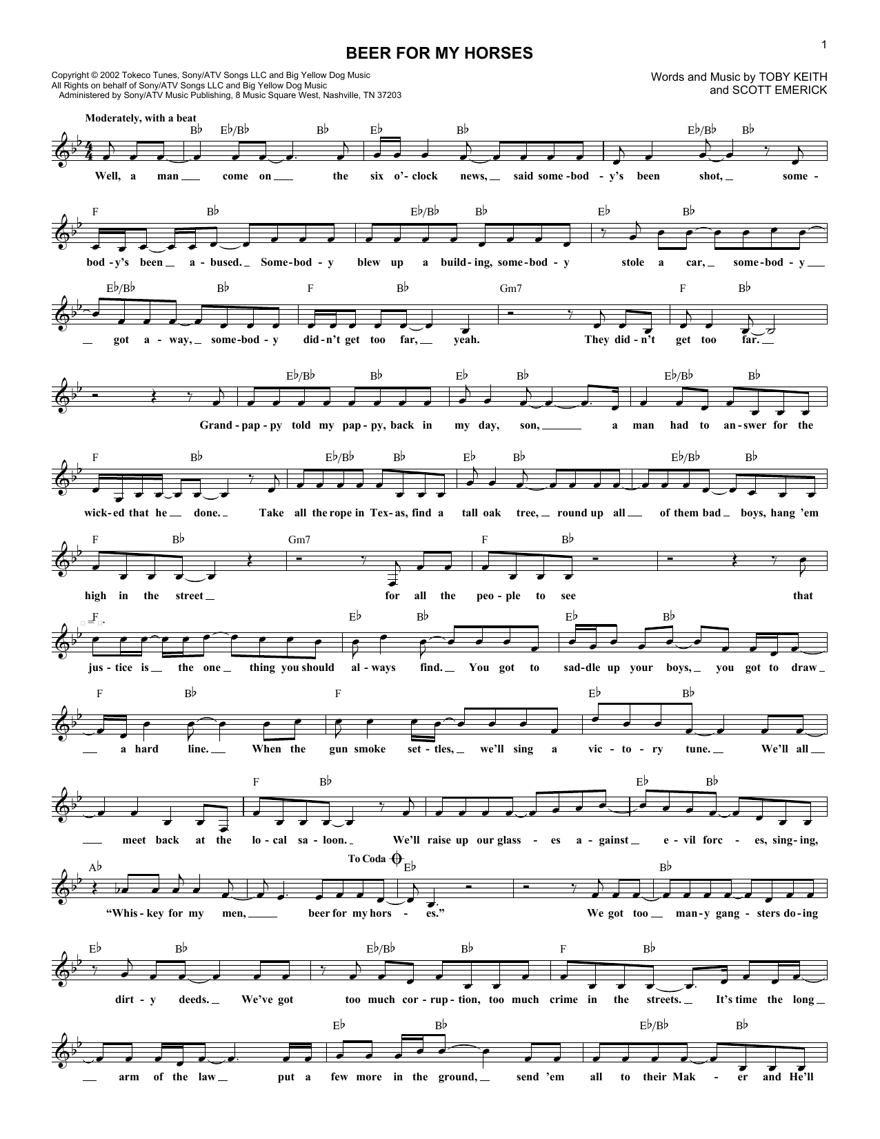 Beer For My Horses (Lead Sheet / Fake Book)