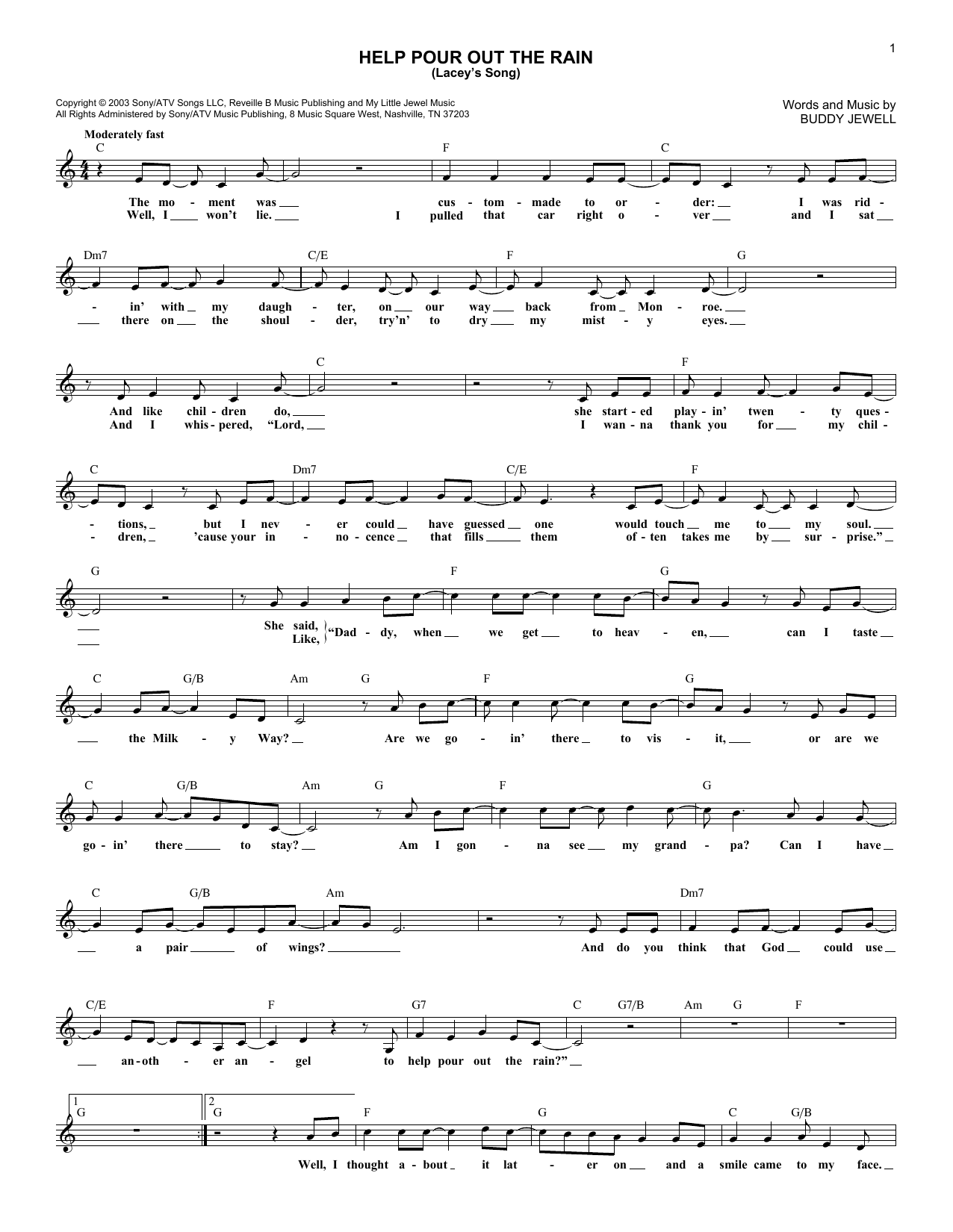 Help Pour Out The Rain (Lacey's Song) (Lead Sheet / Fake Book)