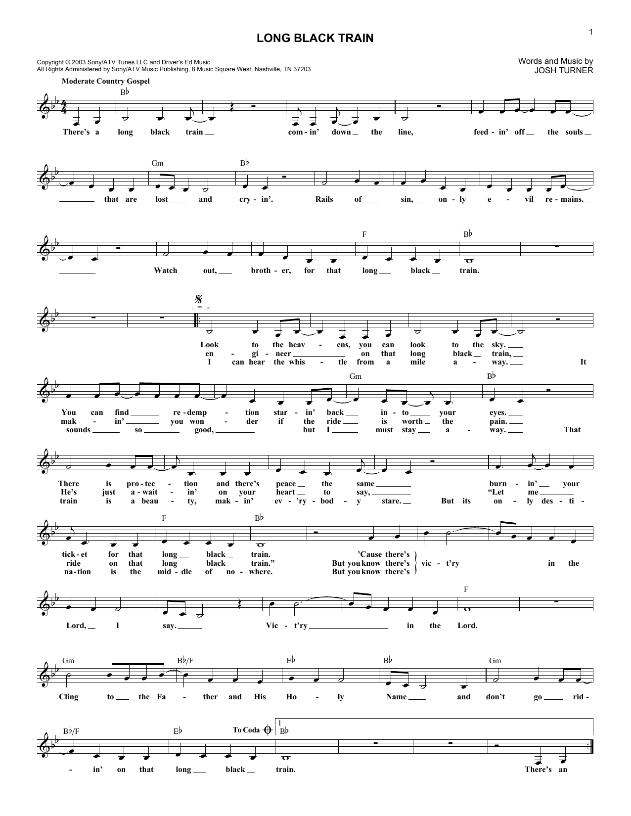 Long Black Train By Josh Turner Hal Leonard Prima Music
