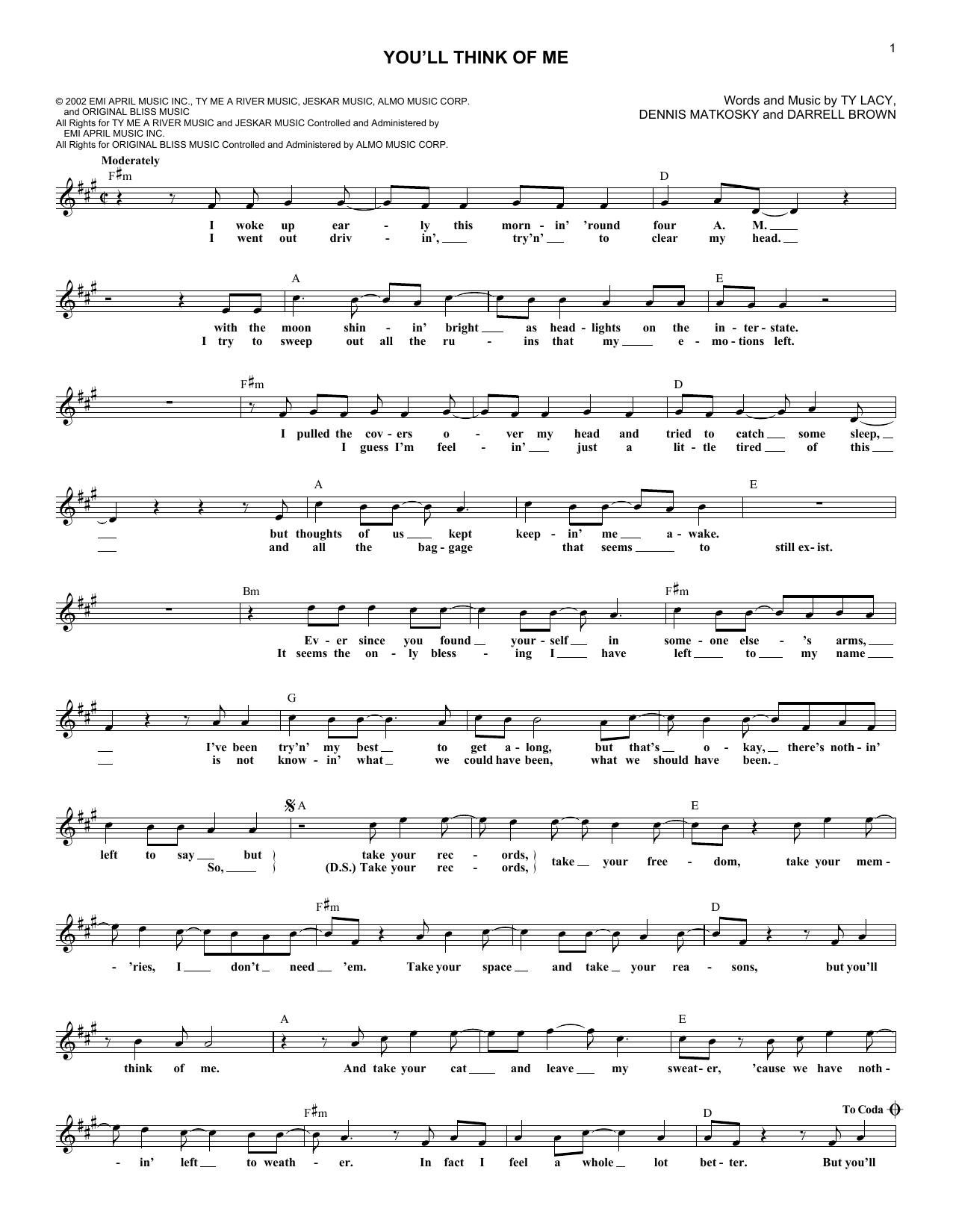 You'll Think Of Me (Lead Sheet / Fake Book)